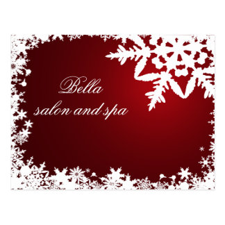 elegant red snowflakes business ThankYou Cards Postcard