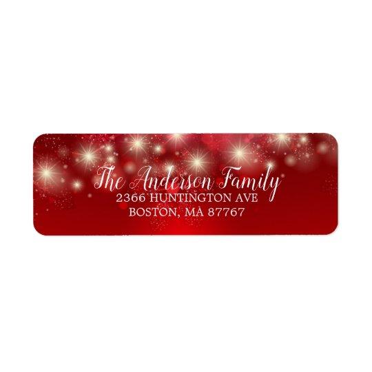 Elegant Red Snowflakes Christmas Address Label