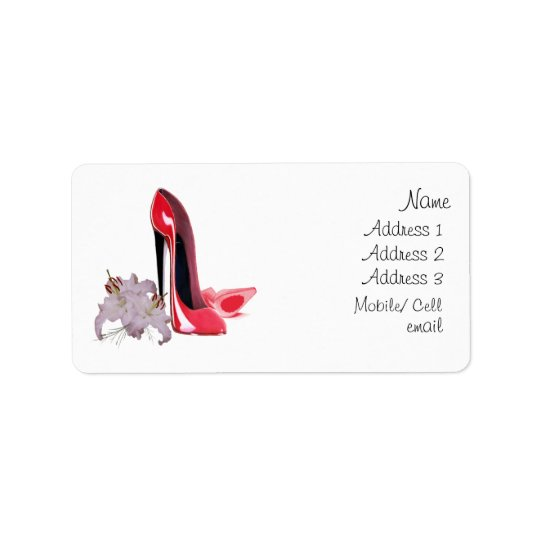 Elegant Red Stiletto Shoes and Lilies Label Address