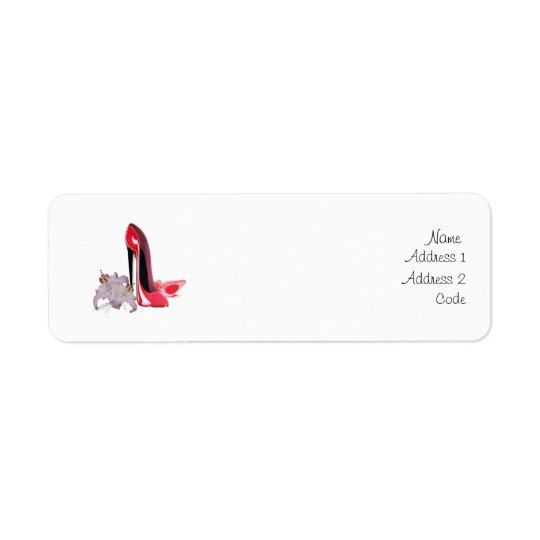 Elegant Red Stiletto Shoes and Lilies Return Label Return Address Label
