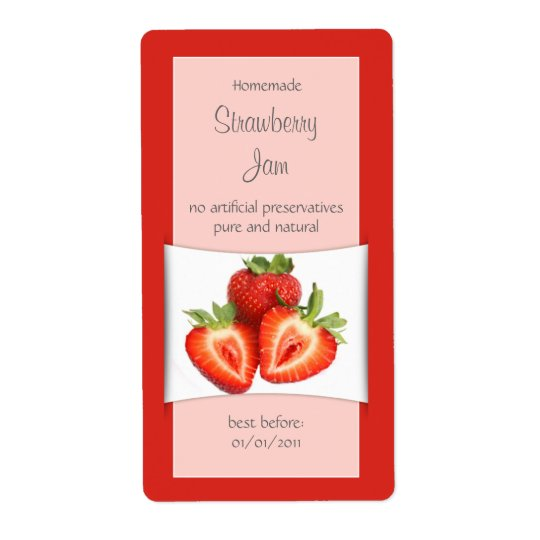 Elegant Red Strawberry Label Shipping Label