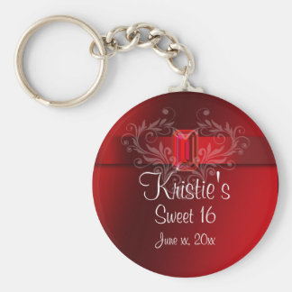 Elegant Red Sweet Sixteen Party Favor Key Chain