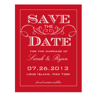 Elegant Red Swirl Save the Date Announcement Postcard