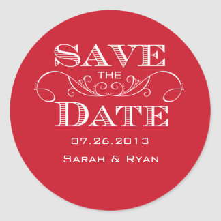 Elegant Red Swirl Save the Date Sticker