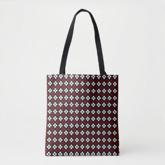Elegant Red & White Argyle Pattern on Black Tote Bag