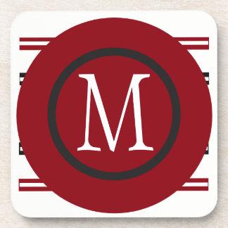 Elegant Red White Black Line Design With Monogram Coaster