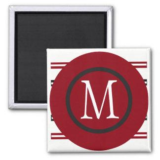Elegant Red White Black Line Design With Monogram Magnet