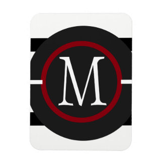 Elegant Red, White & Black Lines With Monogram Magnet