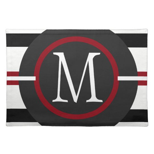 Elegant Red, White & Black Lines With Monogram