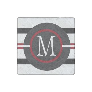 Elegant Red, White & Black Lines With Monogram Stone Magnet