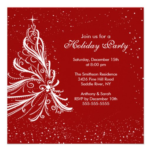 Elegant Red & White Holiday Christmas Party Personalized Announcement