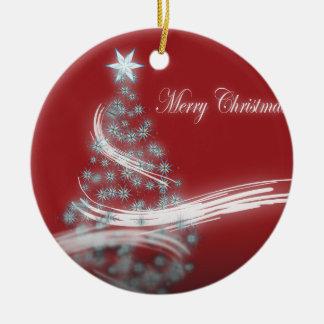 Elegant red white Tree Star christmas Round Ceramic Decoration