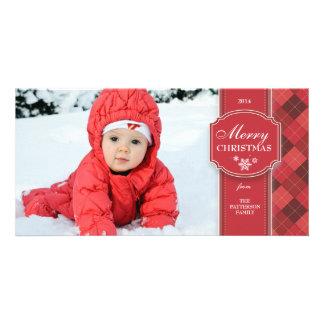 Elegant Red & White w Argyle Christmas Photo Card