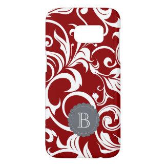 Elegant Red Wine Floral Wallpaper Swirl Monogram