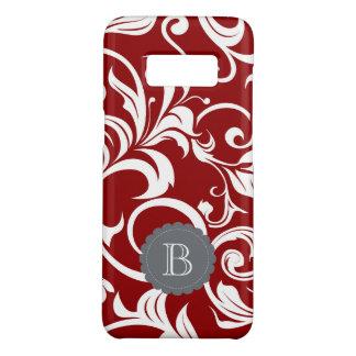 Elegant Red Wine Floral Wallpaper Swirl Monogram Case-Mate Samsung Galaxy S8 Case