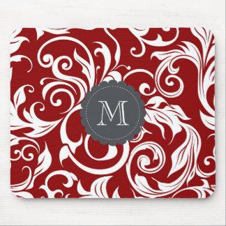 Elegant Red Wine Monogram Floral Wallpaper Mouse Mat