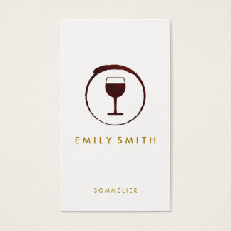 Elegant Red Wine Stain Wine Glass Business Card