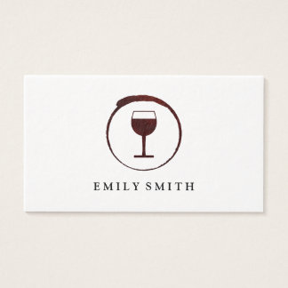 Elegant Red Wine Stain with Wine Glass Business Card
