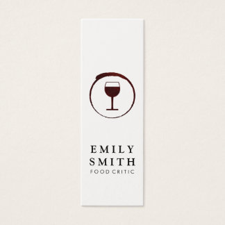 Elegant Red Wine Stain with Wine Glass Mini Business Card