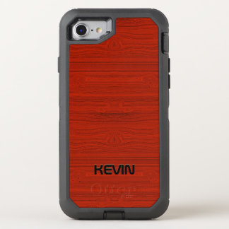 Elegant Red Wood Texture Print Monogram OtterBox Defender iPhone 7 Case