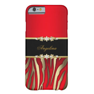 Elegant Red Zebra Black Gold Barely There iPhone 6 Case