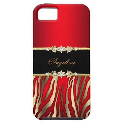 Elegant Red Zebra Black Gold iPhone 5 Cover