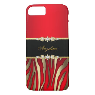 Elegant Red Zebra Black Gold iPhone 7 Case