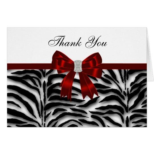 Elegant Red Zebra Thank You Card