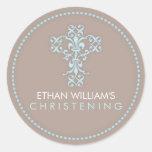 Elegant Religious Celebration Cross in Blue