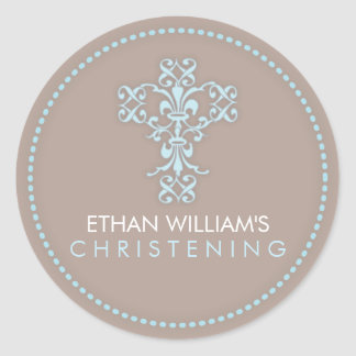 Elegant Religious Celebration Cross in Blue Classic Round Sticker