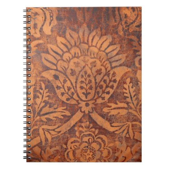 Elegant Renaissance Antique Leather Damask Notebook