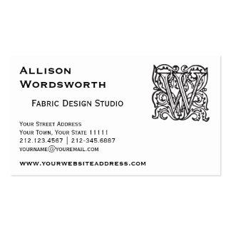 Elegant Renaissance or Medieval Monogram Letter W Pack Of Standard Business Cards