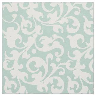 Elegant Renaissance Swirls Celadon Damask Fabric