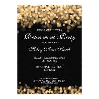 Elegant Retirement Party Gold Lights Personalized Announcements