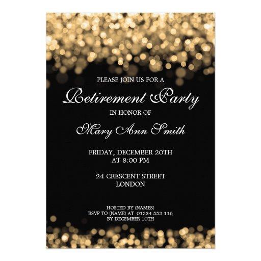 Elegant Retirement Party Gold Lights Personalized Announcements