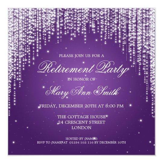 Elegant Retirement Party Night Dazzle Purple Card
