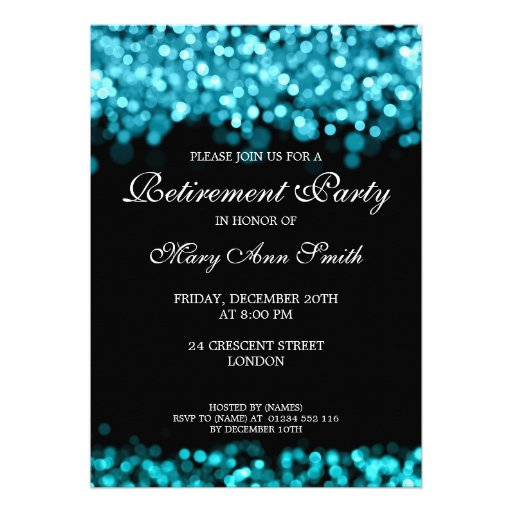 Elegant Retirement Party Turquoise Lights Personalized Invitations