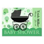 Elegant Retro Baby Carriage - Baby Shower Party 13 Cm X 18 Cm Invitation Card