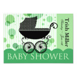 Elegant Retro Baby Carriage - Baby Shower Party Personalized Invitations