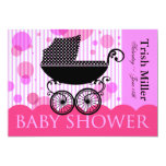 Elegant Retro Baby Carriage - Baby Shower Party Personalised Announcements
