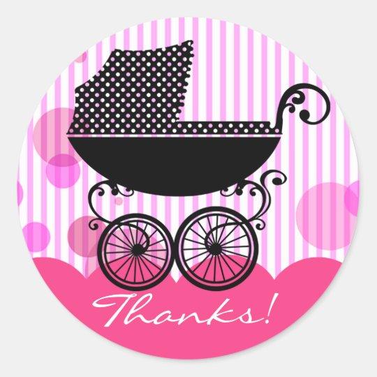 Elegant Retro Baby Carriage - Baby Shower Sticker