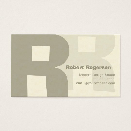 Elegant Retro Big Double Letter R Business Card