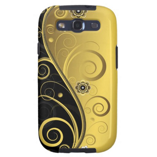 Elegant Retro Black and Gold Floral Swirl Galaxy S3 Case
