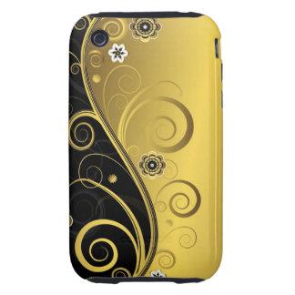 Elegant Retro Black and Gold Floral Swirl Tough iPhone 3 Cases