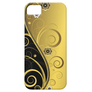 Elegant Retro Black and Gold Floral Swirl iPhone 5 Cases