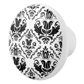 Elegant Retro Black White Damask Pattern Ceramic Knob