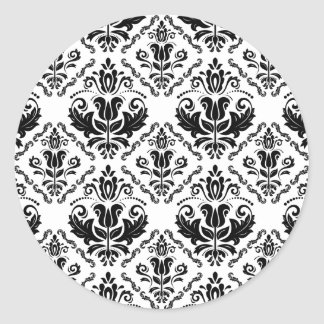 Elegant Retro Black White Damask Pattern Round Sticker