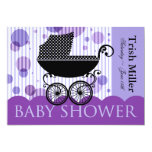 Elegant Retro Carriage Baby Shower Party Custom Invitations