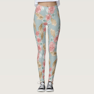 Elegant retro floral leggings