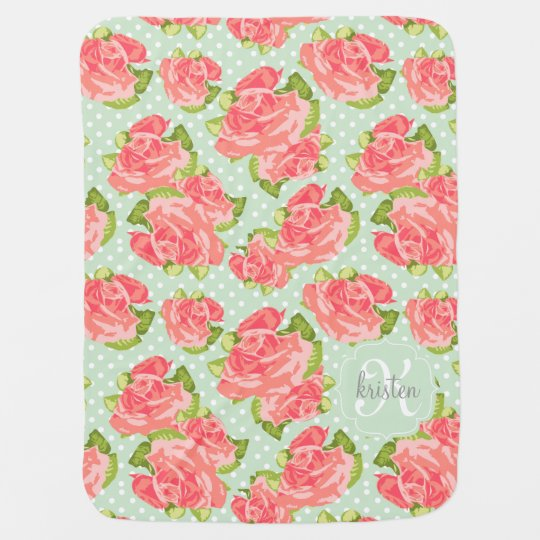 Elegant Retro Floral Pink Mint Girly Personalised Baby